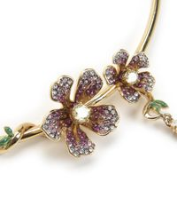 Juicy Couture | Metallic Pave Flowering Vines Wire Necklace | Lyst