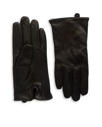 Lauren by Ralph Lauren | Black Logo Peforated Leather Gloves | Lyst