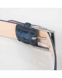 Paul Smith - Blue Navy Hand-Stitched Leather Belt for Men - Lyst