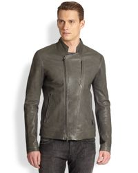 Emporio Armani - Gray Asymmetrical Leather Jacket for Men - Lyst