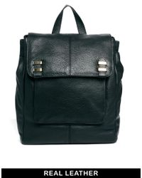 ASOS - Black Leather Soft Boysy Backpack - Lyst