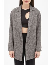 Forever 21 - Brown Longline Abstract Herringbone Blazer - Lyst