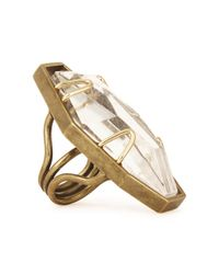 Lanvin | Metallic Farida Crystal-embellished Gold Tone Ring | Lyst