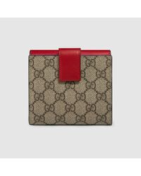 c1b76d223403bd Gucci Gg Supreme French Flap Wallet in Red - Lyst