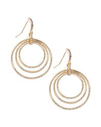 INC International Concepts - Metallic 14k Goldplated Crystal Pave Triple Circle Drop Earrings - Lyst