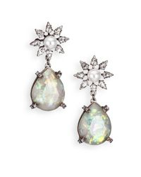 DANNIJO | Metallic Dolly Crystal & Faux Pearl Teardrop Earrings | Lyst