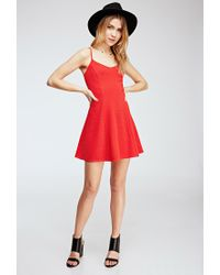 Forever 21 - Red Ribbed Fit & Flare Dress - Lyst