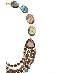 Bounkit Multicolor Labradorite And Smoky Topaz String Necklace
