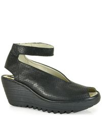 Fly London | Black Yala Ankle Strap Peep Toe Wedge | Lyst