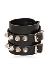 Saint Laurent | Black Studded Buckle Leather Bracelet for Men | Lyst