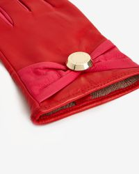 Ted Baker - Red Button Bow Detail Gloves - Lyst