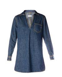 Saint Laurent - Blue Studded Denim Tunic Dress - Lyst
