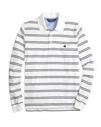 Brooks Brothers - White Slim Fit Longsleeve Stripe Polo Shirt for Men - Lyst