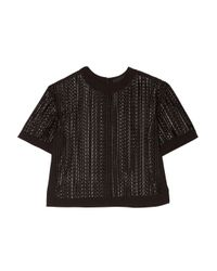 Alexander Wang - Black Boxy Embroidered-tulle Top - Lyst
