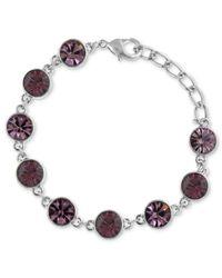2028 | Metallic Silver-Tone Amethyst Glass Crystal Bracelet | Lyst