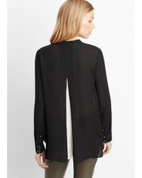 Vince | Black Silk Color Tipped Long Sleeve Blouse | Lyst
