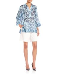 ESCADA - Brown Floral Tunic Blouse - Lyst