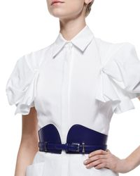 Alexander McQueen - Blue Bustino Leather Bridle Belt - Lyst