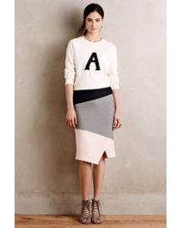 HD In Paris - Gray Colorblocked Knit Pencil Skirt - Lyst