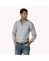 Tommy Hilfiger - Blue Cotton Check Slim Fit Shirt for Men - Lyst