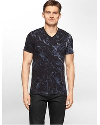 Calvin Klein | Black White Label Ck One Marble Print Cut Seam V-neck T-shirt for Men | Lyst