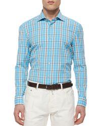 Kiton   Blue Large Plaid Woven Shirt for Men   Lyst