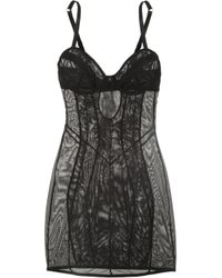 L'Agent by Agent Provocateur | Black Fara Zip-Detailed Stretch-Tulle Chemise | Lyst