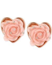 Betsey Johnson | Pink Rose Gold-tone Heart Rose Stud Earrings | Lyst