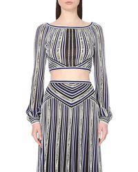Roberto Cavalli   Blue Striped Cropped Stretch-knit Top   Lyst
