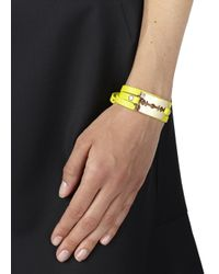 McQ - Yellow Razor Leather Wrap Bracelet - Lyst