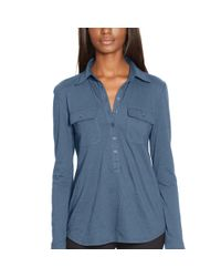 Ralph Lauren - Blue Cotton Jersey Buttoned Shirt - Lyst