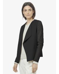 Vince - Black Leather Sleeve Drape Front Jacket - Lyst