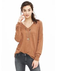 Banana Republic | Brown Relaxed Vee Pullover | Lyst