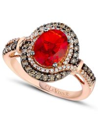 Le Vian | Brown Fire Opal (9/10 Ct. Chocolate ( 1/3 Ct. T.w.) And White Diamond (1/6 Ct. T.w.) Ring In 14k Rose Gold | Lyst