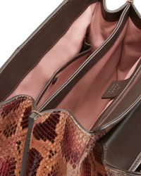 Gucci - Red Lady Lock Medium Python Top Handle Bag - Lyst