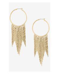 Express - Metallic Hoop Earrings With Fringe - Lyst
