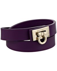Ferragamo | Purple Double Wrap Leather Bracelet | Lyst