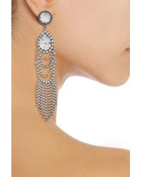 DANNIJO | Metallic Oxidized Silverplated Swarovski Crystal Drop Earrings | Lyst