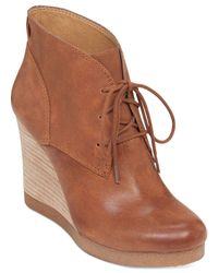 Lucky Brand - Brown Women's Taheeti Lace-up Wedge Booties - Lyst
