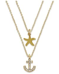 ABS By Allen Schwartz | Metallic Gold-tone Crystal Anchor And Starfish Layered Necklace | Lyst