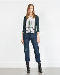 Zara | Green Top With Beaded Neckline | Lyst