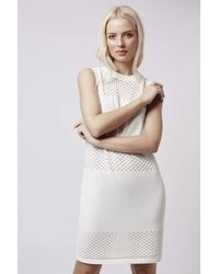 TOPSHOP - White Pointelle Panel Dress - Lyst