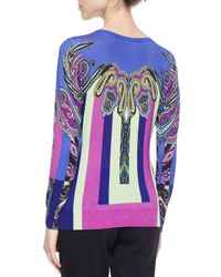 Etro - Multicolor Cashmere-blend Paisley-print Colorblock Sweater - Lyst