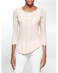 Calvin Klein | Pink Jeans Bib 3/4 Sleeve Henley | Lyst