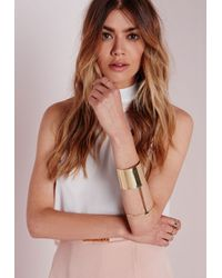 Missguided | Metallic Block Arm Cuff Gold | Lyst
