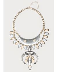 Bebe - Multicolor Large Horn & Drop Necklace - Lyst