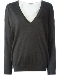 Brunello Cucinelli - Gray Embellished Back Layered Sweater - Lyst