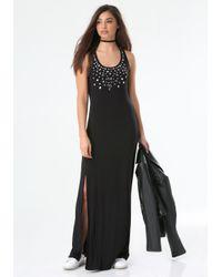 Bebe - Black Stud & Mesh Banded Dress - Lyst