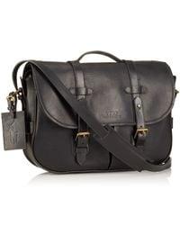 Polo Ralph Lauren - Black Leather Messenger Satchel for Men - Lyst