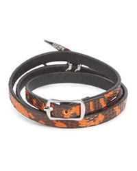 McQ - Red And Orange Triple Wrap Leather Bracelet - Lyst